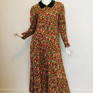 Vintage 80s Laura Ashley Cotton Flannel Dress